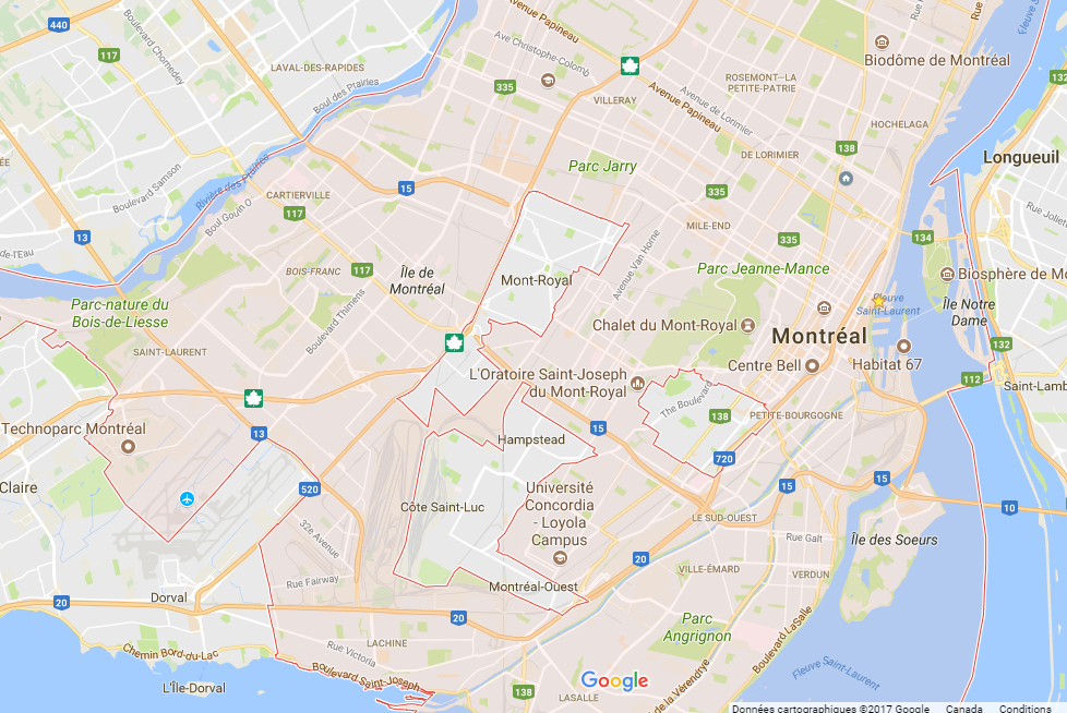 Autres quartiers de Montréal en carte