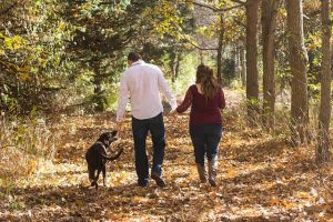 famille automne avec chien